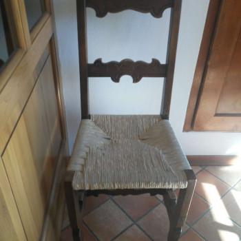 6 sedie legno, impagliate