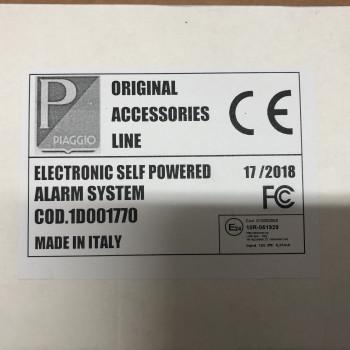 Allarme elettronico originale per Vespa GTS GTV GT cod. 1D001770
