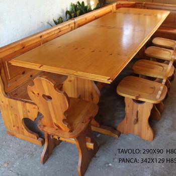 Tavolo taverna in pino con cassapanca e 6 sedie