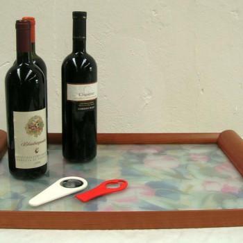 Vassoio manici in legno e piano decorato in vetro  - 3 varianti